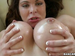 Topless Hunter Bryce grabs her wet huge boobs before she