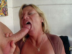 Sex starved mature blonde Samantha Lee with huge breasts has