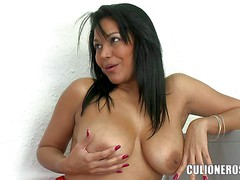 Naturally busty milf Valeria dildos her wet experienced pussy and