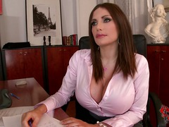 Clanddi Jinkcego is a sexy big breasted office woman that