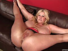 Bog breasted BBW blonde Zoey Andrews gets her pussy and