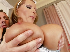 Busty cleaning lady Laura M in sexy uniform gets her