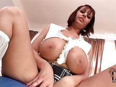 Buxom european honey LaTaya Roxx in skirt shows off her