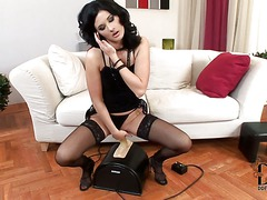 Lulu finds Sybian machine amazing and gives it a try.