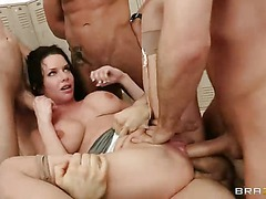Big titted reporter Veronica Avluv gets gangbanged by five guys