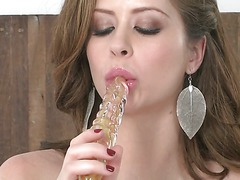 Big meloned bombshell Emily Addison loves her rubbed dildo. She