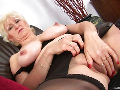 Blond granny Janka in black lingerie is here to show