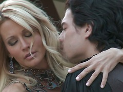 Amazingly beautiful blonde woman Jessica Drake kisses her sex partner