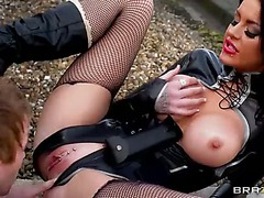 Stacey Lacey is a sexy big boobed thief that gets