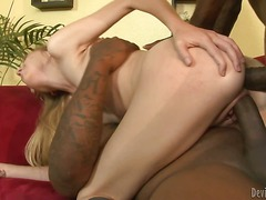 Pretty young blonde chick Emma Haize gets ass fucked by