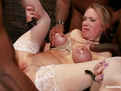 Big breasted babe Rain Degrey in white stockings gets ferociously