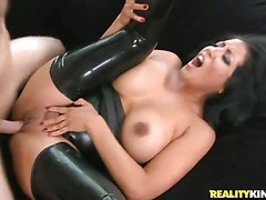 Smoking hot milf brunette Kiara Mia dressed in black gets