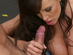 Smoking hot well-endowed milf Lisa Ann strips out of her