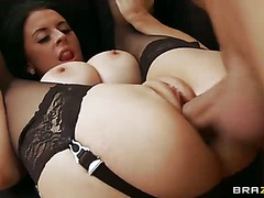 Delicious married woman with giant tits Louise Jenson can't get