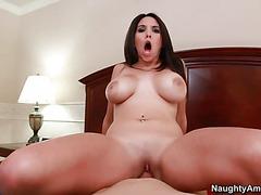 Curvy dark haired wife Missy Martinez with huge tits, big