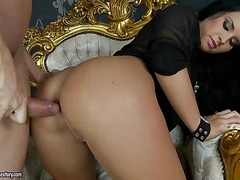 Black haired stunning beauty Bettina Dicapri gets her perfect tight