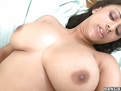 Busty ebony lady London Reings shows off her sexy assets