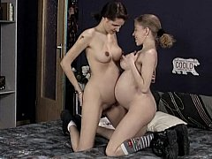 Hairy pregnant lesbians and german threesome...