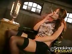 Smoking sexy brunette