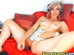 Cute blonde babe massive dildo penetration