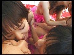 five japanese lesbians kissing