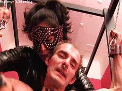 Feetloving slave licks boots of Mistress