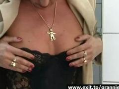 Orgasm 65 Years Alice in public restroom