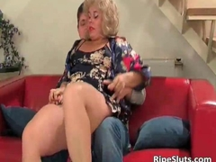Busty blonde mature slut sucks on hard