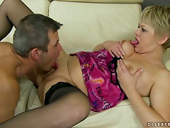 Randy Blonde Mature Wants a Teen Guy To Eat and Fuck her Pussy