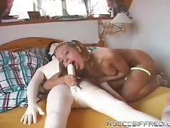 Busty babe gets her tits shaky, when she rides him