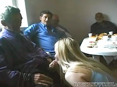 Dirty Kelly sucks a black cock after fucking a grandpa
