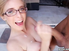The Innocent blonde girl in glasses gives skillful blowjob