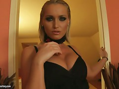 Bewitching Kathia Nobili kisses a guy and sucks his dick