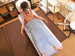 Small Tit Japanese Masseur Gets Fucked & Jizzed.