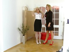 Two smoking hot blond babes Silvia and Stacy are going lesbian