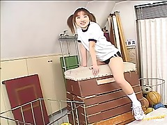 Gorgeous Japanese School Girl Giving a Hot Blowjob to Her Gym Teacher