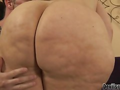 Horny fat brunette gets fucked and jizzed on her ass