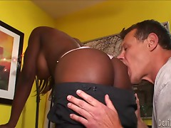 Coco Pink the slutty ebony granny gets fucked by White guy