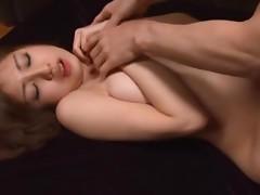 Saki Yano enjoys terrific threesome MMF sex on the stairs