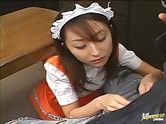 Maid Takes A Break To Suck Her Boss And Eat His Cum