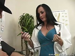 Sexy doctor Melissa Lauren cures her patient KJ and rides his dick