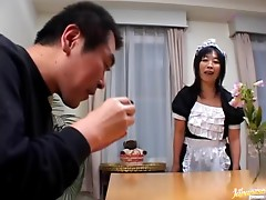 Old Japanese maid asks her master to stimulate her clit with a dildo