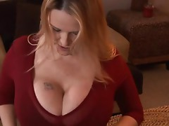 Busty milf Lynn LeMay sucks a cock and gets fucked from behind