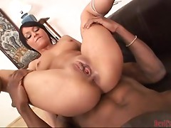 Desirable brunette babe gets balled by a huge black cock