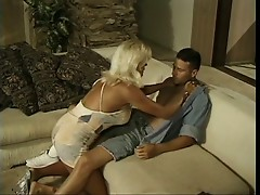 Sexy older blonde sucks a long cock