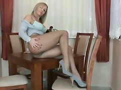 Mature Alla in pantyhose strip