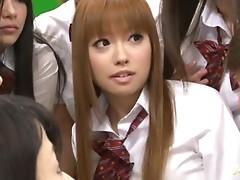 Slutty Japanese schoolgirls suck dicks right in the classroom