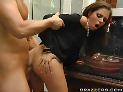 Smoking hot brunette babe Missy Stone gets balled on the floor