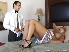 Busty blonde mistress Holly Halston fucks handsome butler Voodoo