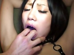 Uta Kohaku moans with pleasure while getting her pussy fucked with a dildo